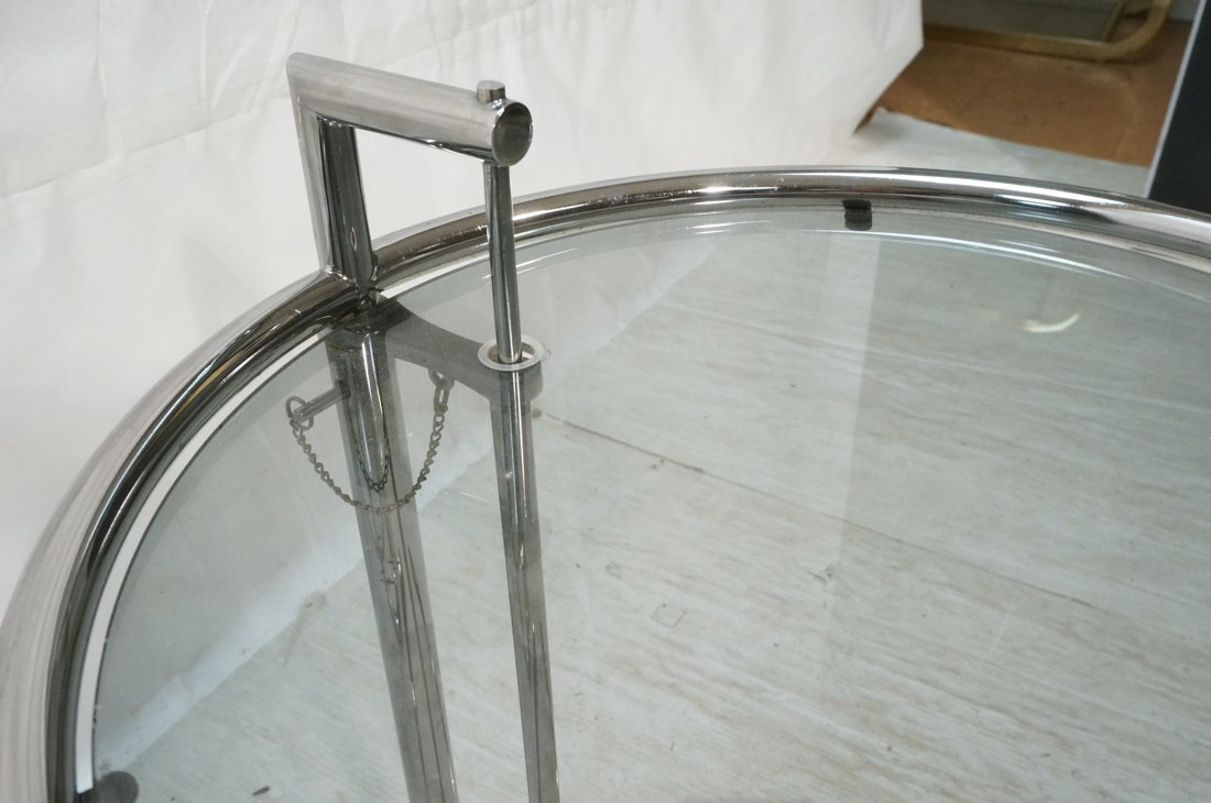 Pr EILEEN GRAY style Chrome Side Tables. Smoked G - 8