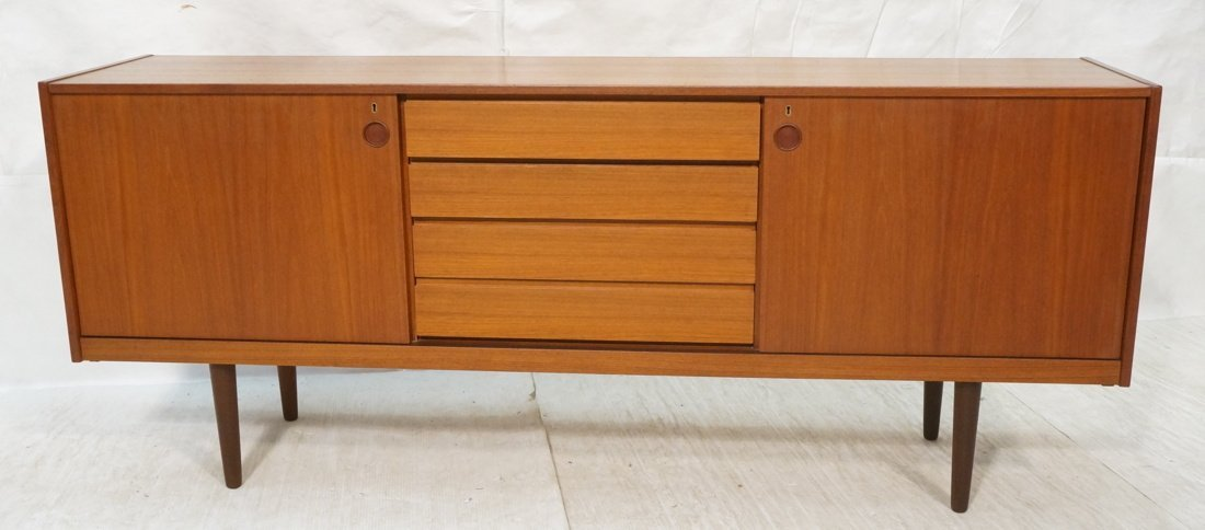 Norway Teak Long Credenza. Raised on Tapered legs