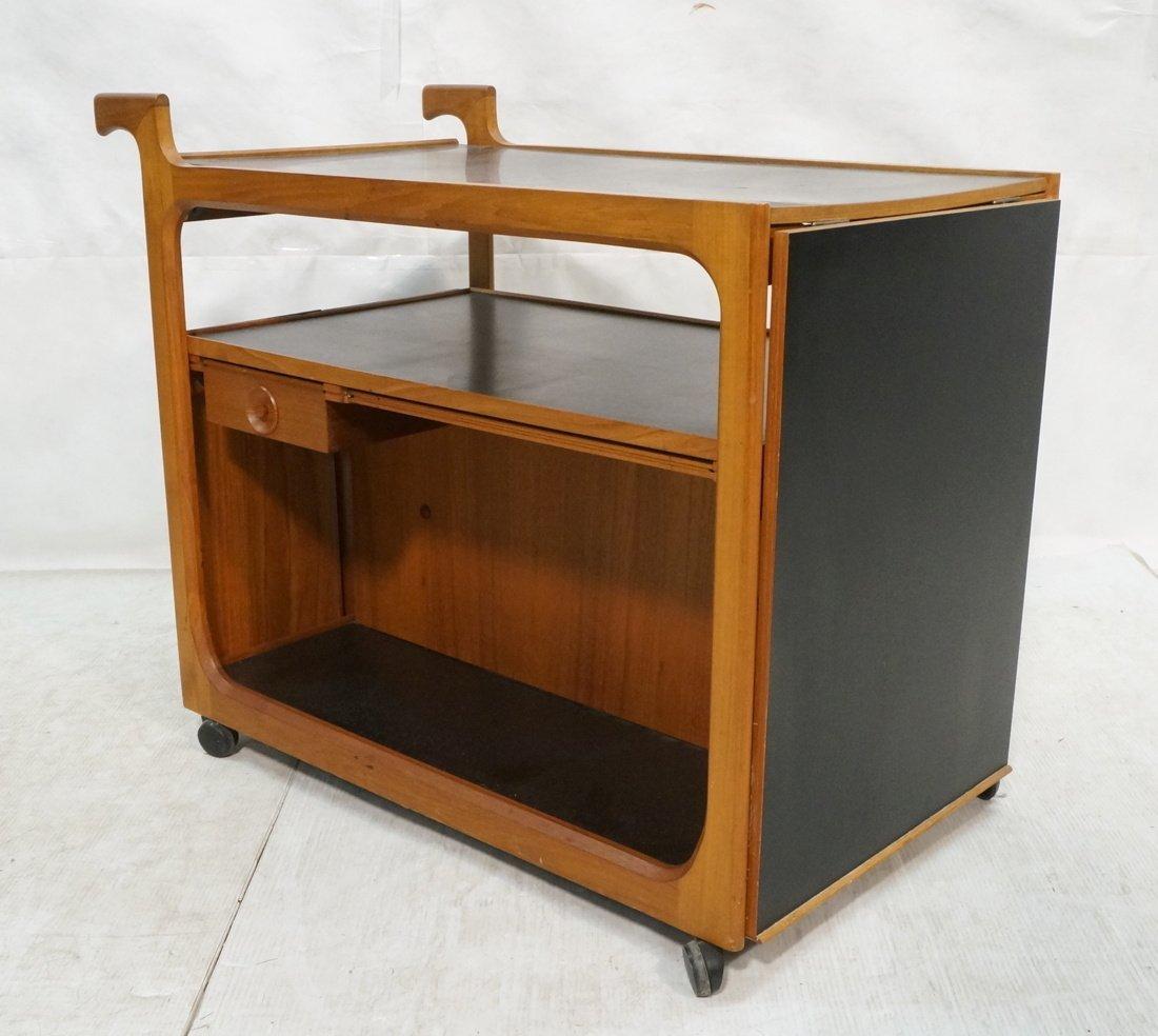 Danish Modern Teak Bar Cart with Lower shelves an