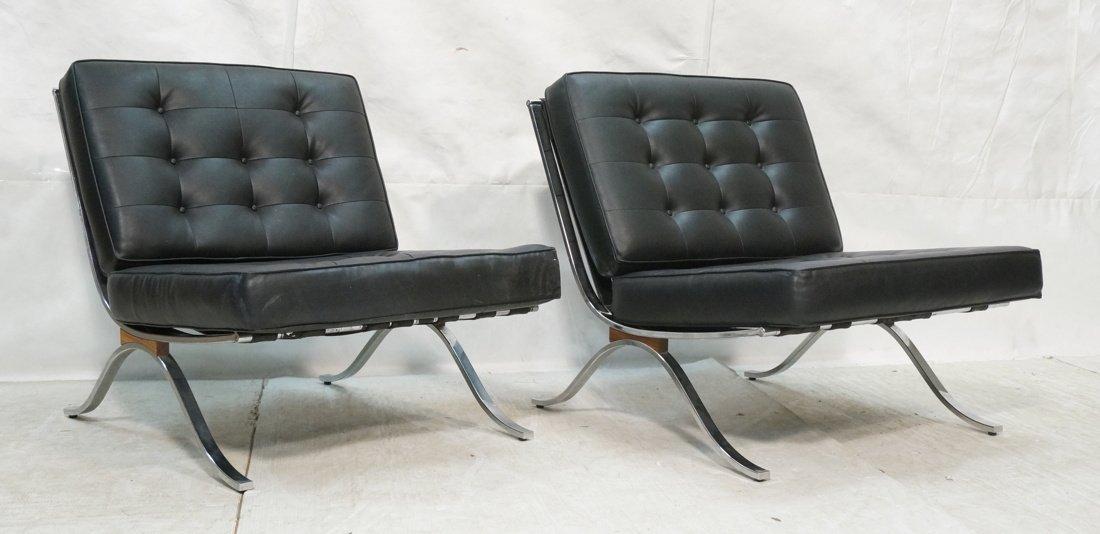Pair Italian Chrome Barcelona Style Chairs.  Blac