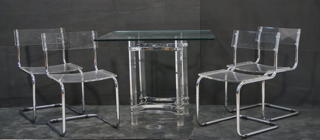 5pc Lucite Dinette Set.  Chrome lucite and Glass.