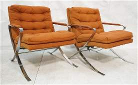 Pair Baughman Style Lounge Chair with wide chrome