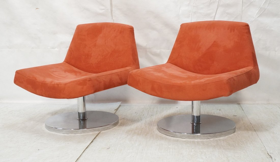 Pr Red Ultra suede Swivel Lounge Chairs. Chrome P