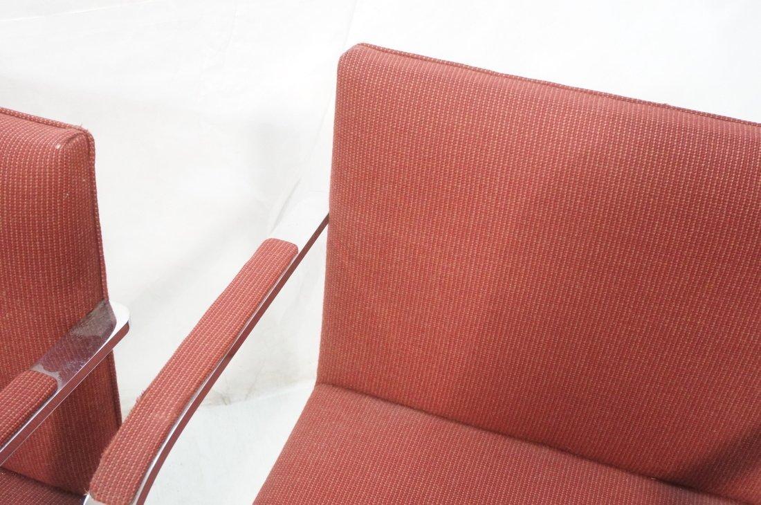 Pr BRNO Chrome Frame Arm Lounge Chairs. Burgundy - 10