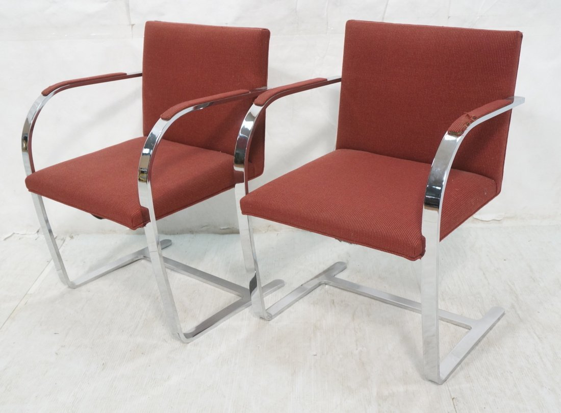 Pr BRNO Chrome Frame Arm Lounge Chairs. Burgundy