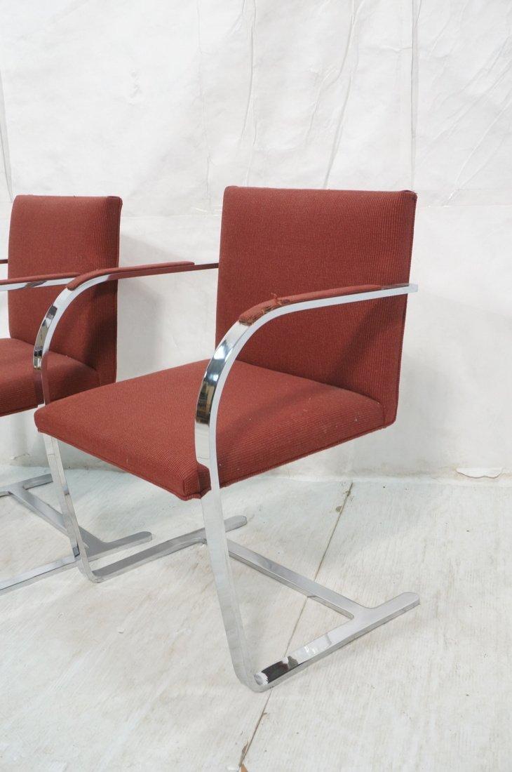 Pr BRNO Chrome Frame Arm Lounge Chairs. Burgundy - 2