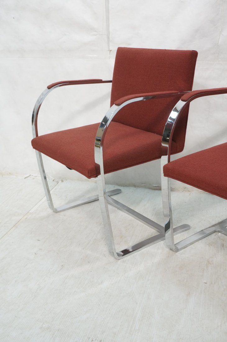 Pr BRNO Chrome Frame Arm Lounge Chairs. Burgundy - 3