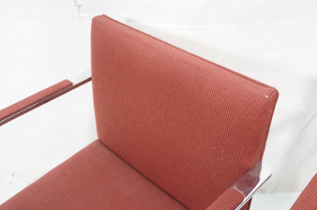 Pr BRNO Chrome Frame Arm Lounge Chairs. Burgundy - 4