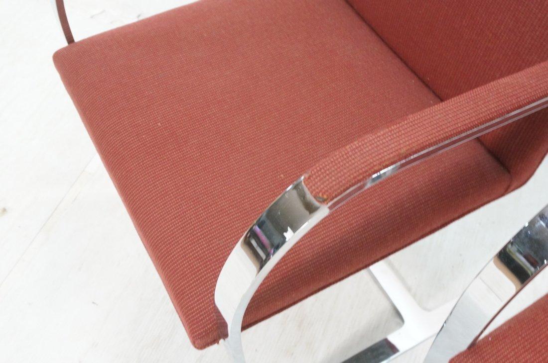 Pr BRNO Chrome Frame Arm Lounge Chairs. Burgundy - 6
