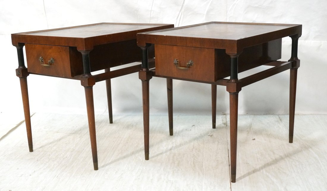 Pair of Grosfeld House style Leather top end tabl