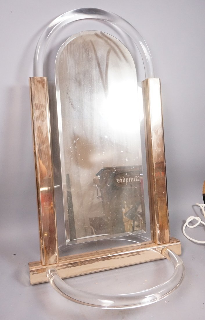 Arched Lucite Hanging Wall Mirror. Molded lucite