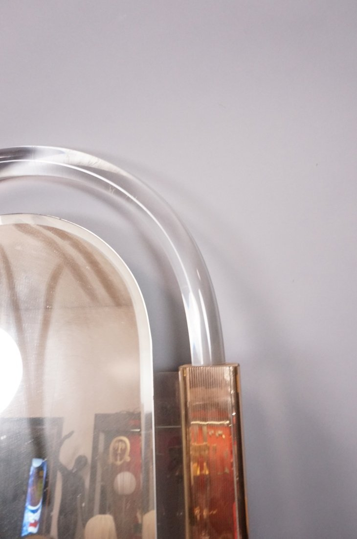 Arched Lucite Hanging Wall Mirror. Molded lucite - 9