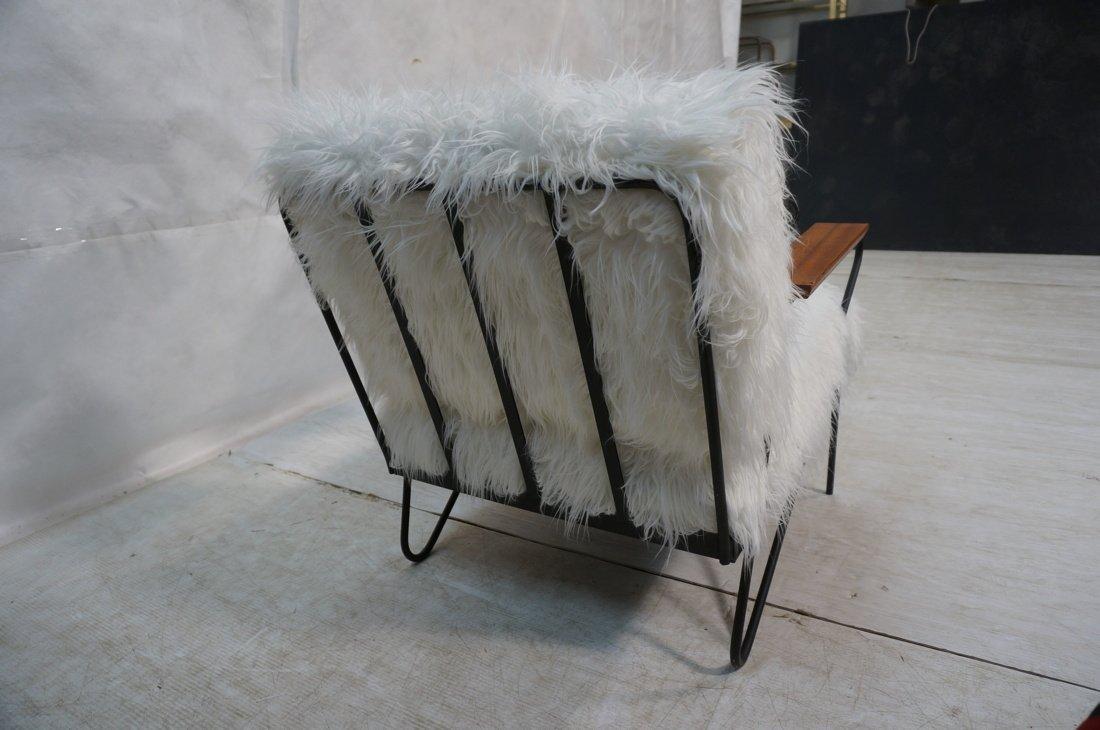 Pr Black Iron Hairpin Wood Arm Lounge Chairs. Whi - 10