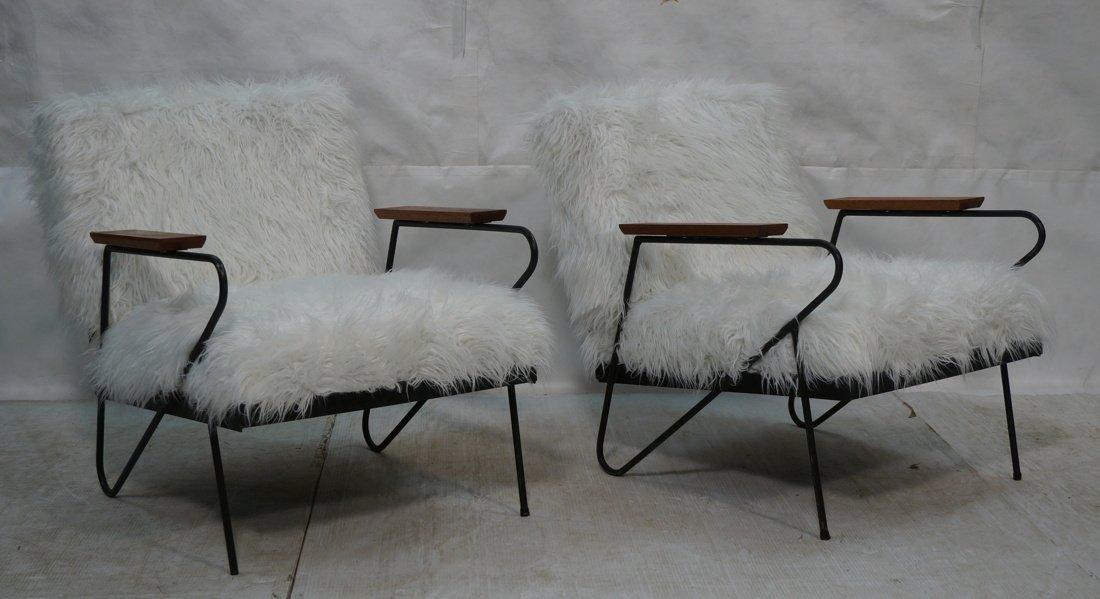 Pr Black Iron Hairpin Wood Arm Lounge Chairs. Whi