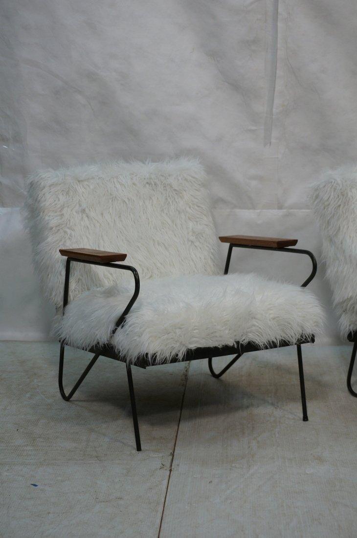 Pr Black Iron Hairpin Wood Arm Lounge Chairs. Whi - 2