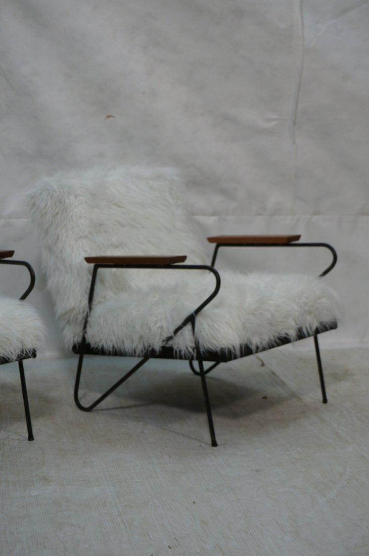 Pr Black Iron Hairpin Wood Arm Lounge Chairs. Whi - 3