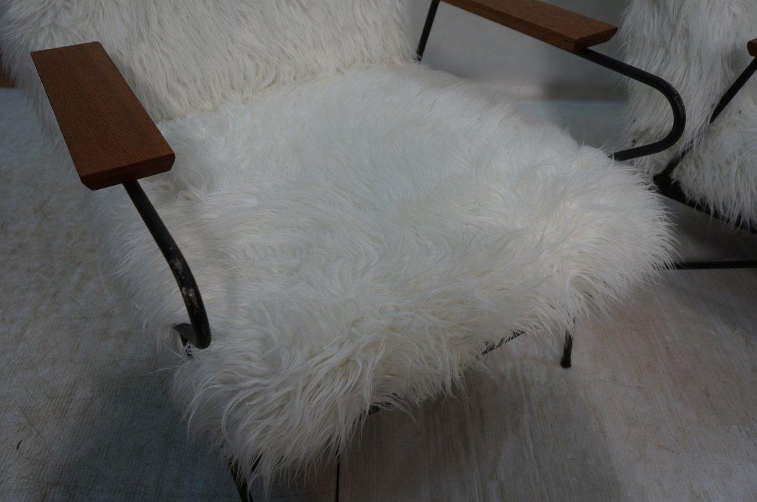 Pr Black Iron Hairpin Wood Arm Lounge Chairs. Whi - 4