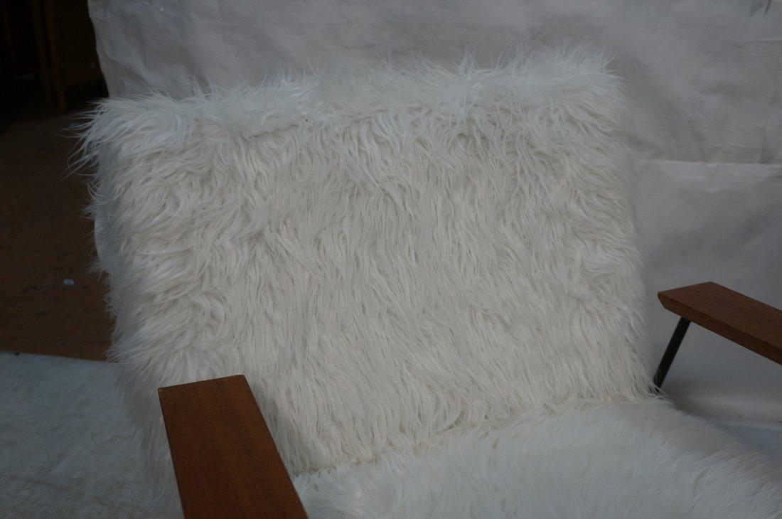 Pr Black Iron Hairpin Wood Arm Lounge Chairs. Whi - 5