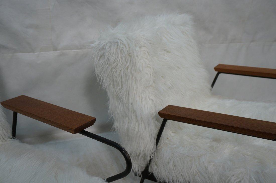 Pr Black Iron Hairpin Wood Arm Lounge Chairs. Whi - 6