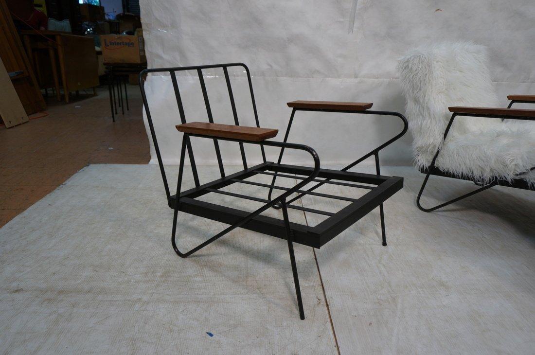Pr Black Iron Hairpin Wood Arm Lounge Chairs. Whi - 8