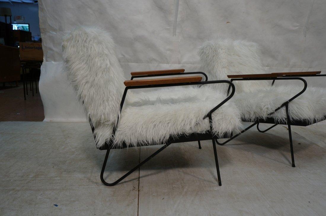 Pr Black Iron Hairpin Wood Arm Lounge Chairs. Whi - 9