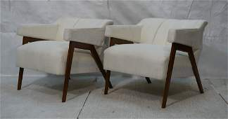 Pr Italian style Modernist Lounge Chairs. Wood le