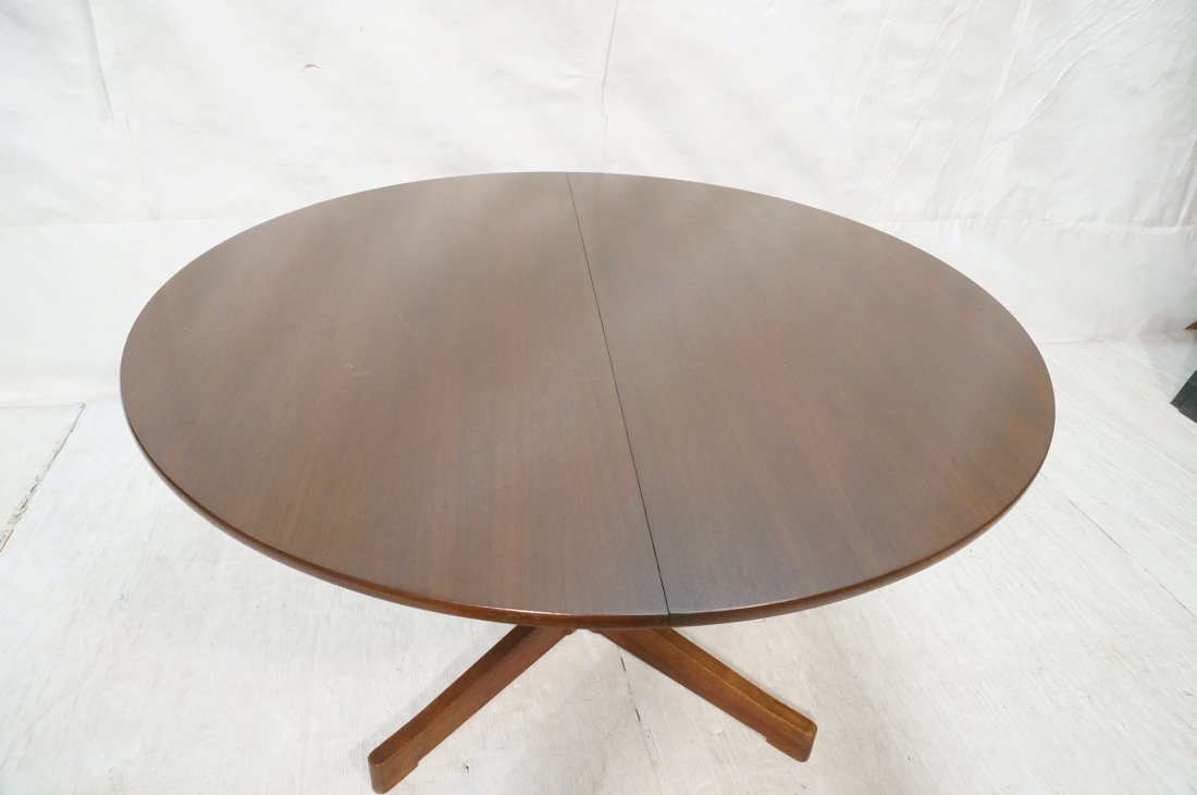 Danish Modern Teak Dining Table. Round Top on Ped - 3