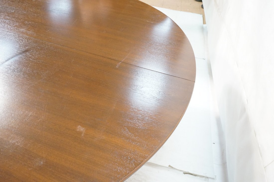 Danish Modern Teak Dining Table. Round Top on Ped - 6
