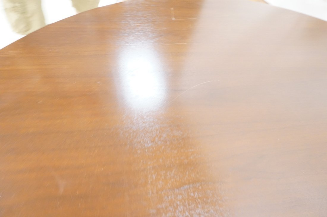 Danish Modern Teak Dining Table. Round Top on Ped - 8