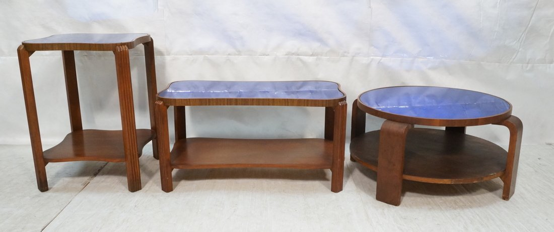 Lot 3 Art Deco Cobalt Mirror Tables.  Two tables