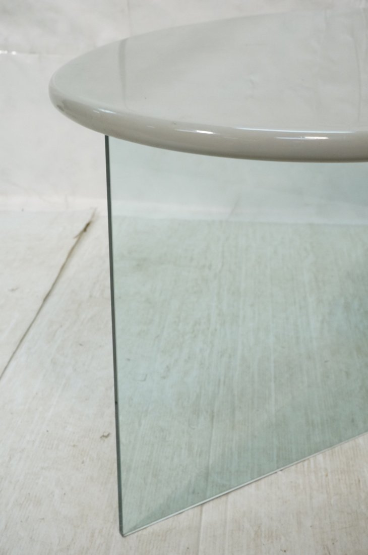 Modern style Side Table Desk. Gray lacquer kidney - 2