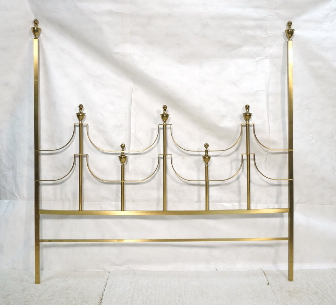 MASTERCRAFT Gold Tone And Brass Poster Headboard.