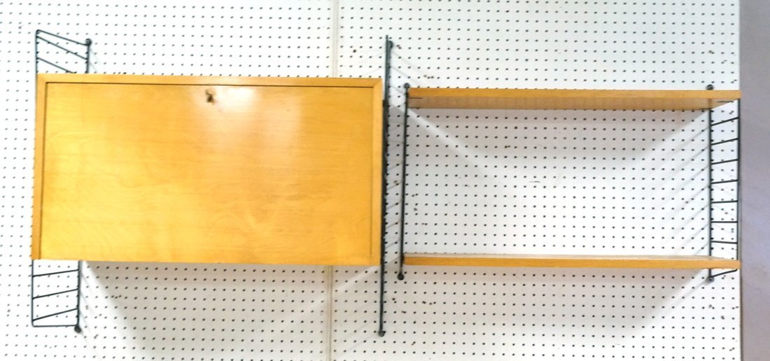 2pc Wall mount String Shelving Unit. Black rod la
