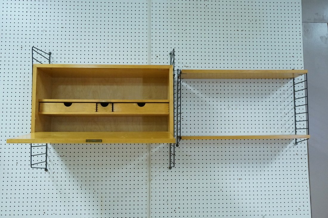 2pc Wall mount String Shelving Unit. Black rod la - 5