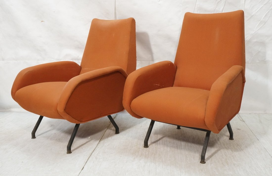 Pr Italian style Lounge Chairs. Tall tapered back