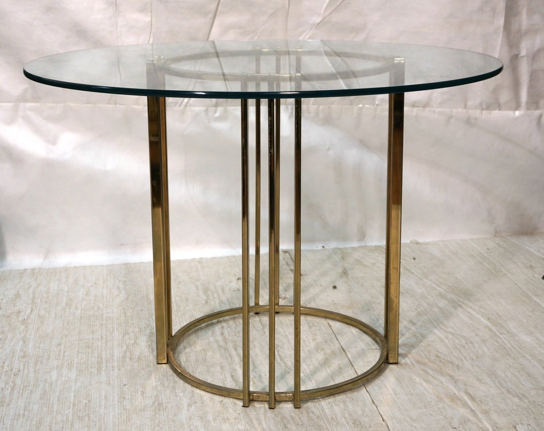 Round Glass Top Baughman style Dining Table. 70's