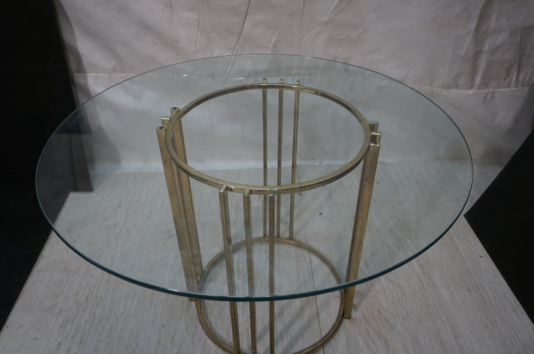 Round Glass Top Baughman style Dining Table. 70's - 3
