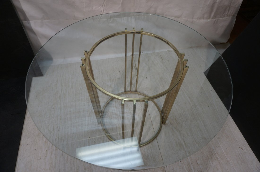 Round Glass Top Baughman style Dining Table. 70's - 8
