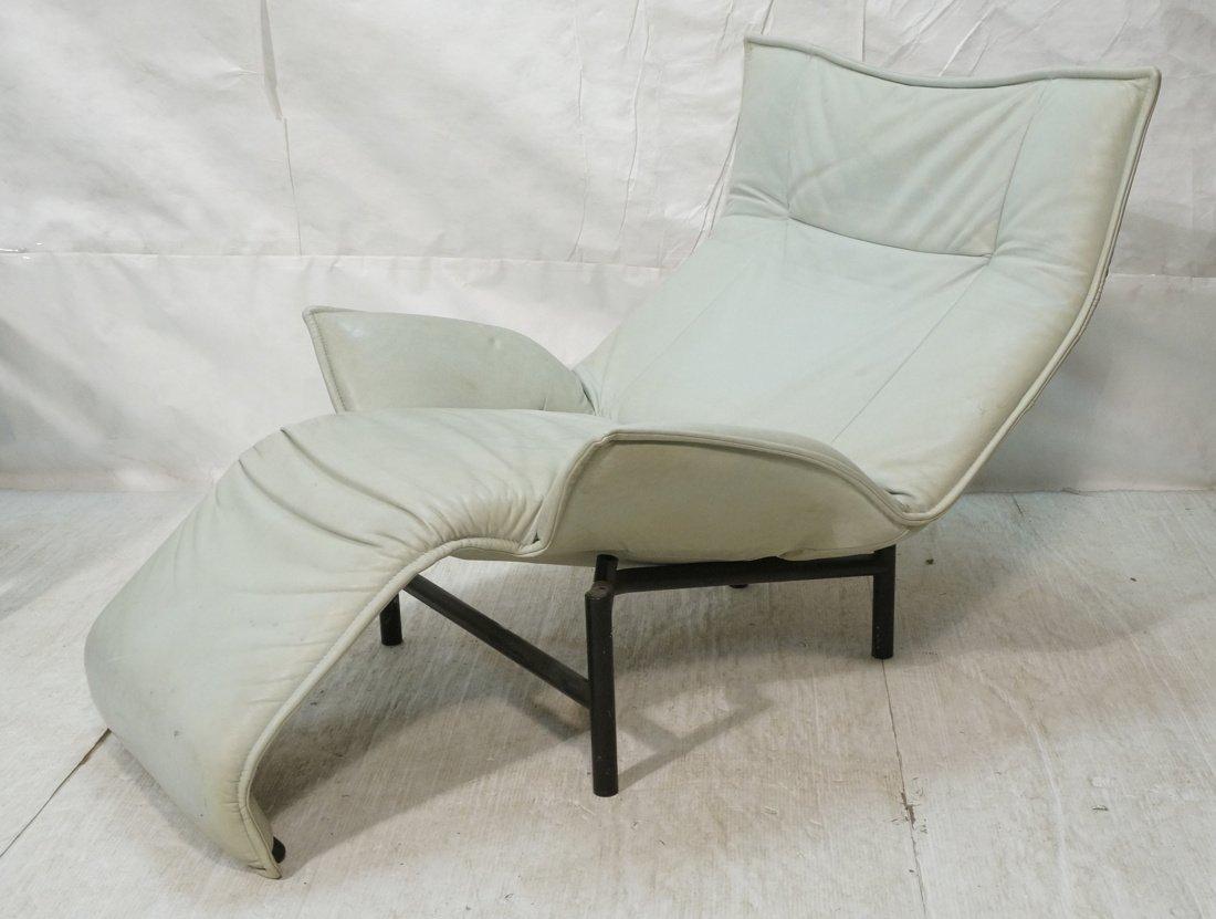 Pale Aqua Leather Italian style Chaise Lounge. Wi