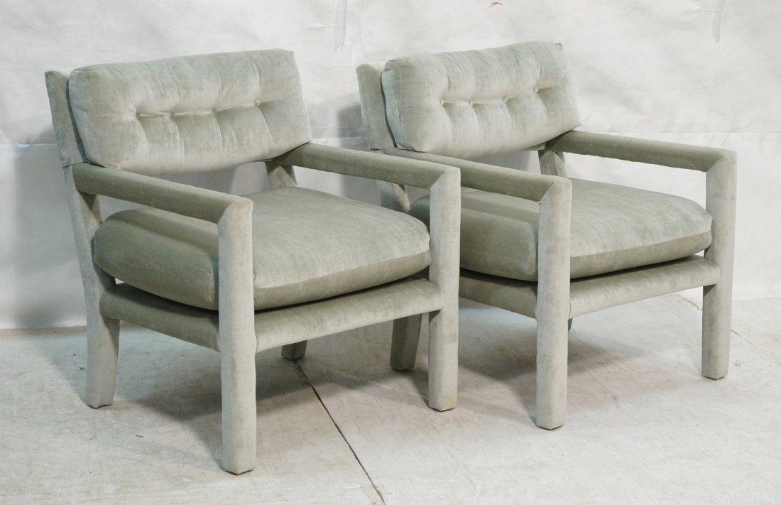 Pr Milo Baughman style open arm Lounge Chairs. Pa