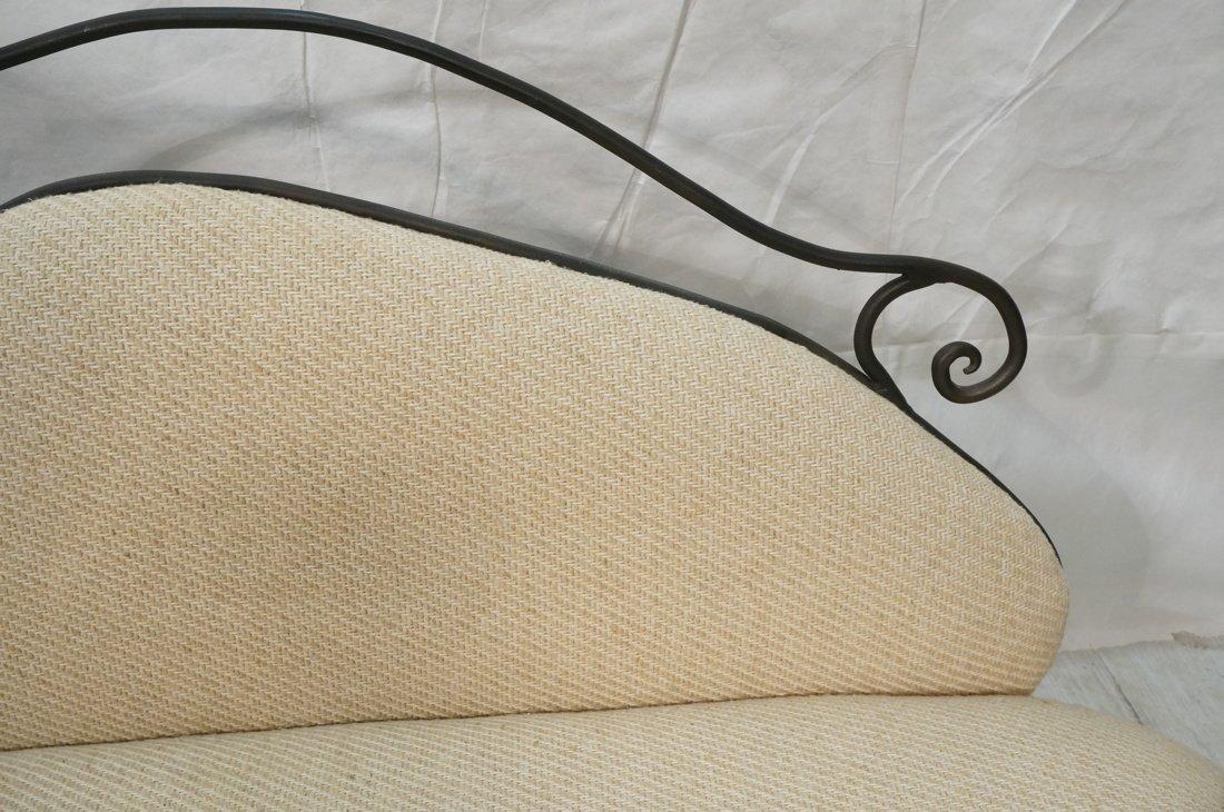 Decorator Black Iron Bench Love Seat. Oatmeal fab - 10
