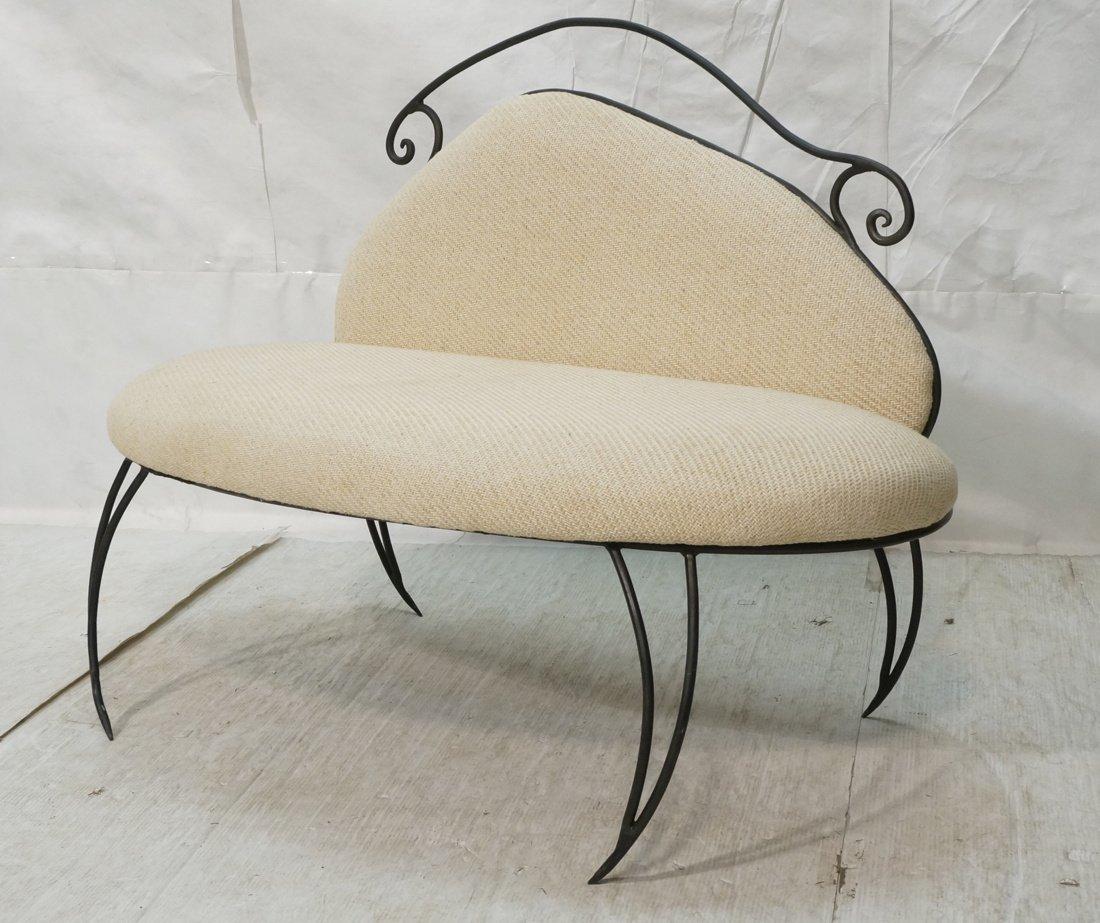 Decorator Black Iron Bench Love Seat. Oatmeal fab