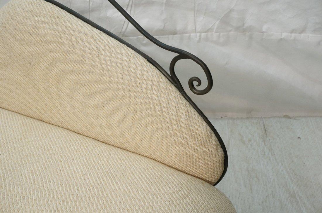 Decorator Black Iron Bench Love Seat. Oatmeal fab - 2