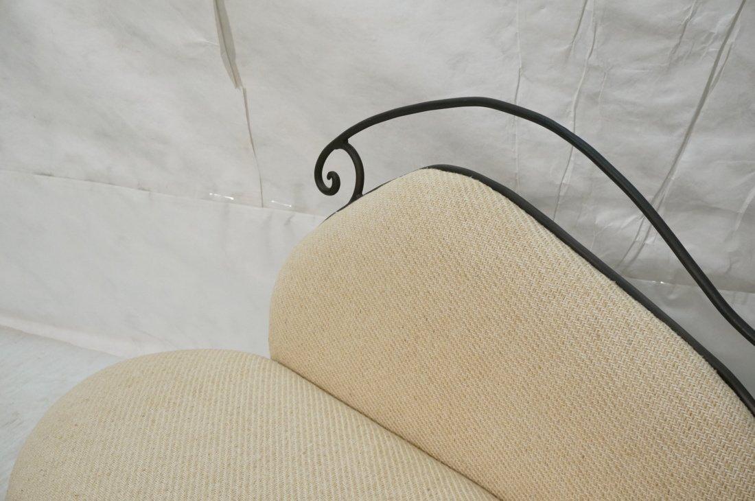Decorator Black Iron Bench Love Seat. Oatmeal fab - 3