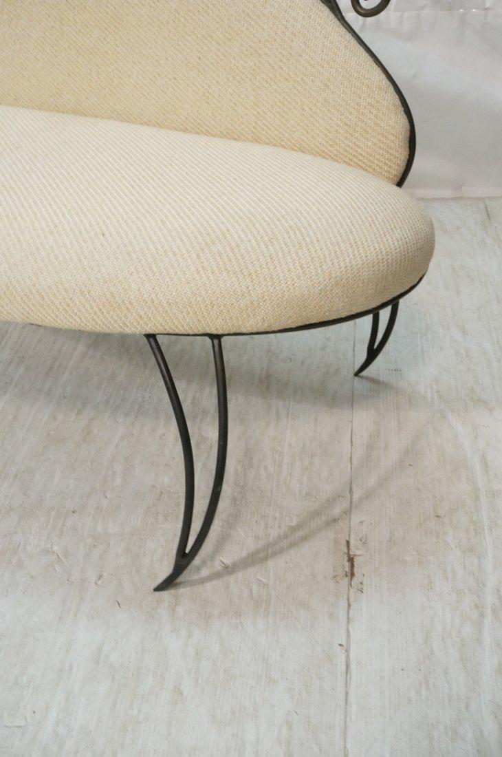 Decorator Black Iron Bench Love Seat. Oatmeal fab - 4