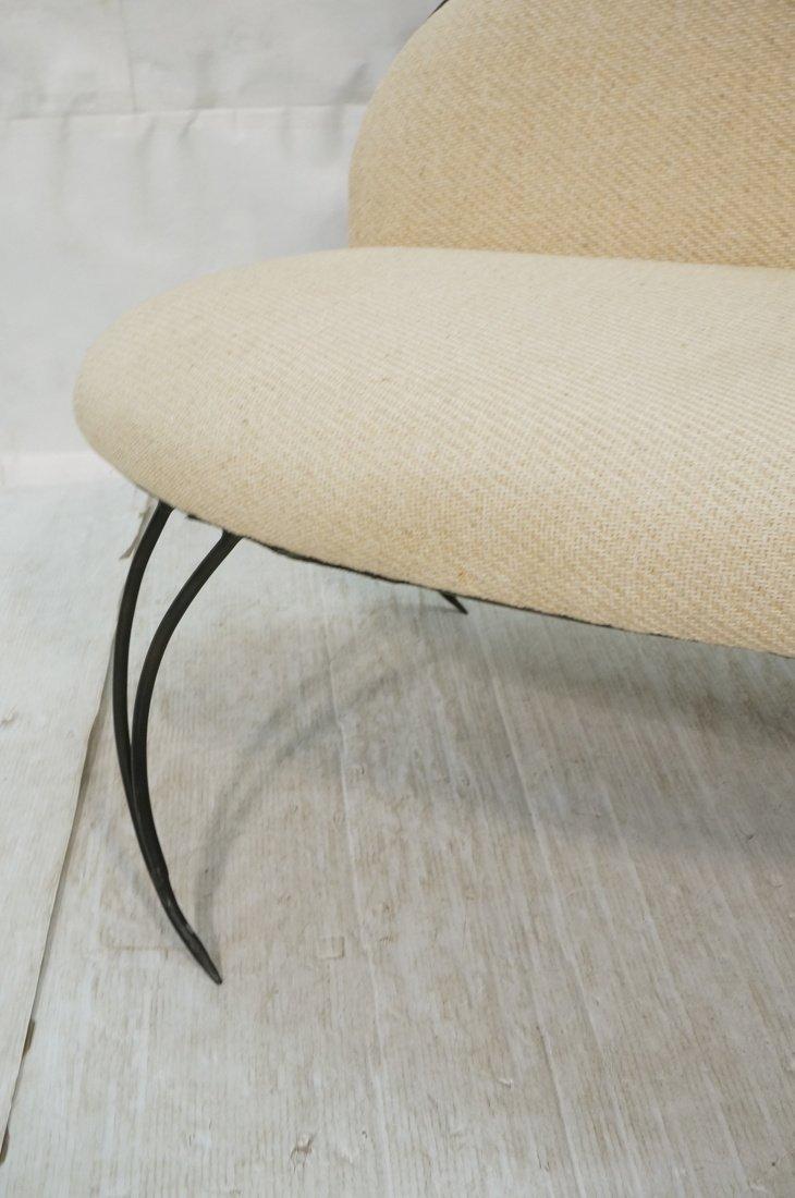 Decorator Black Iron Bench Love Seat. Oatmeal fab - 5