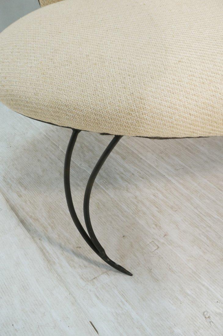 Decorator Black Iron Bench Love Seat. Oatmeal fab - 7