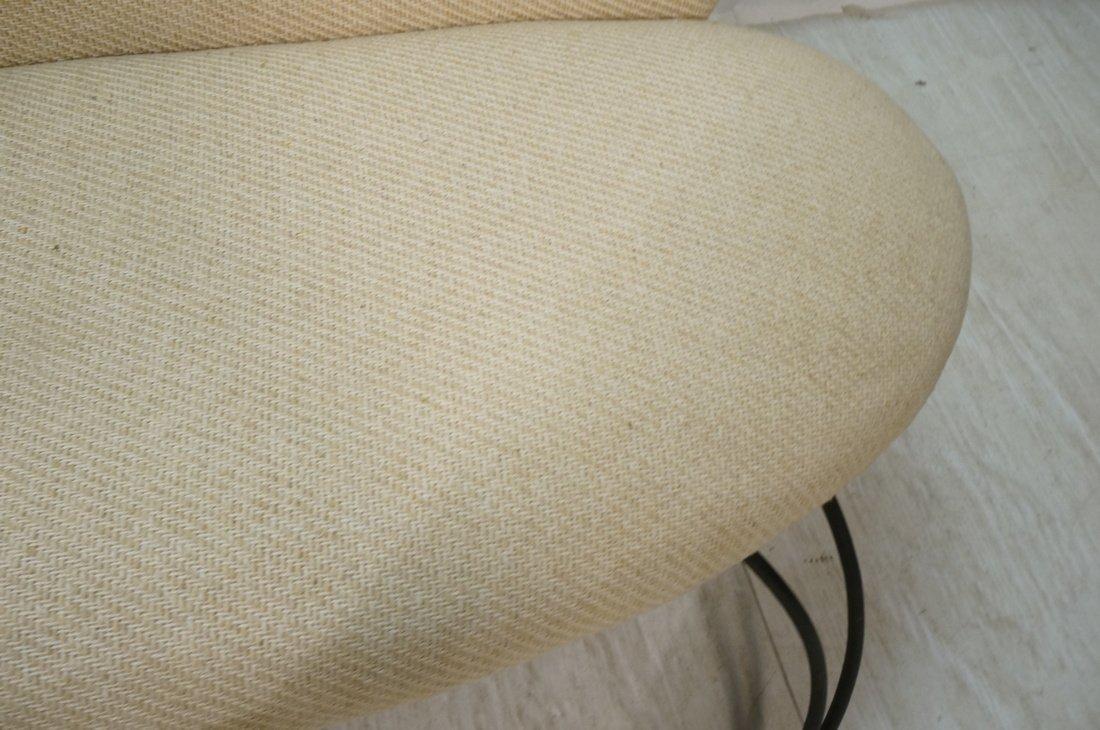 Decorator Black Iron Bench Love Seat. Oatmeal fab - 9