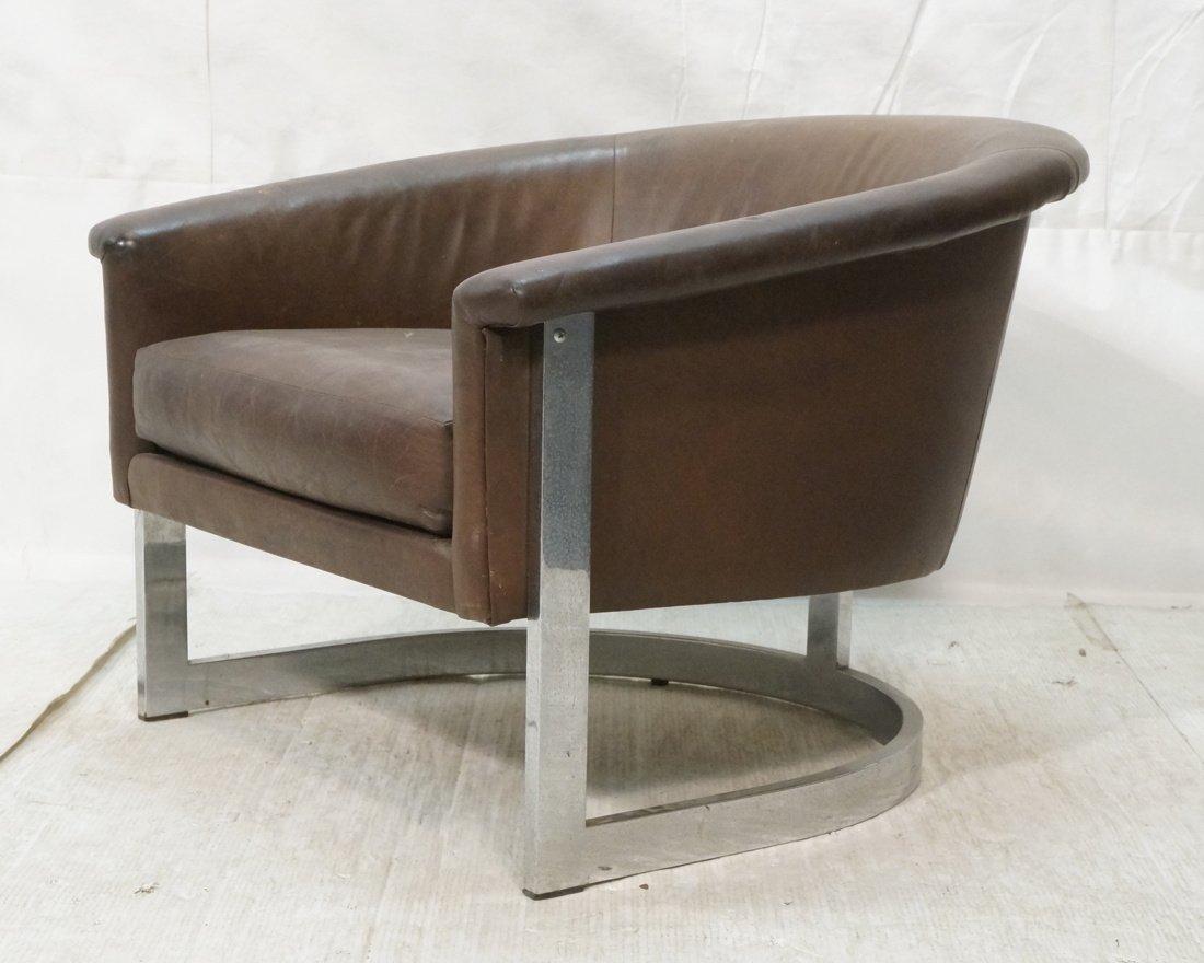 Milo Baughman style Low Barrel Back Lounge Chair.