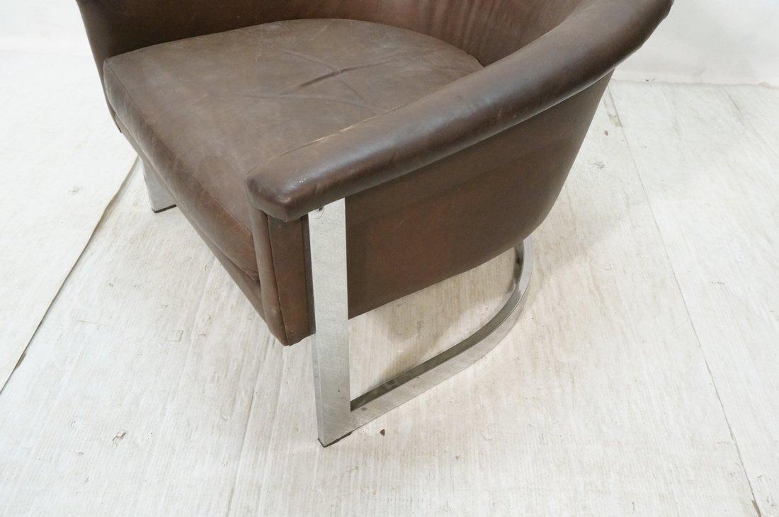Milo Baughman style Low Barrel Back Lounge Chair. - 4